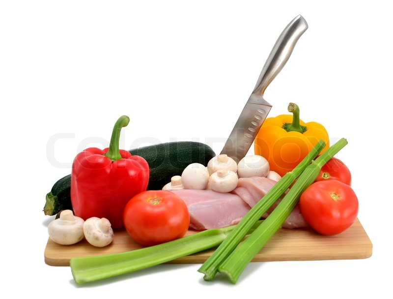 Chicken, Knife And Vegetables On A Cutting Board, Isolated On White | Stock  Photo | Colourbox