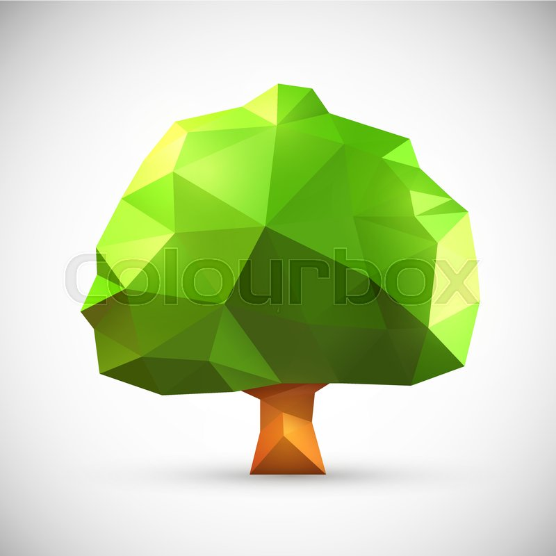 Polygonal Origami Oak Tree Clean Vector Illustration