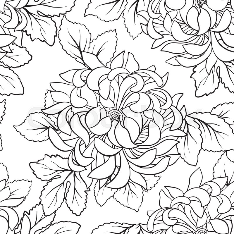 seamless pattern with chrysanthemum in japanese style outline