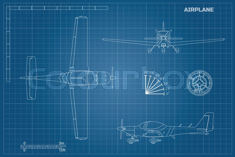 Engineering blueprint of plane fast sport airplane view top side engineering blueprint of plane fast sport airplane view top side and front industrial drawing of aircraft vector illustration vector malvernweather Choice Image