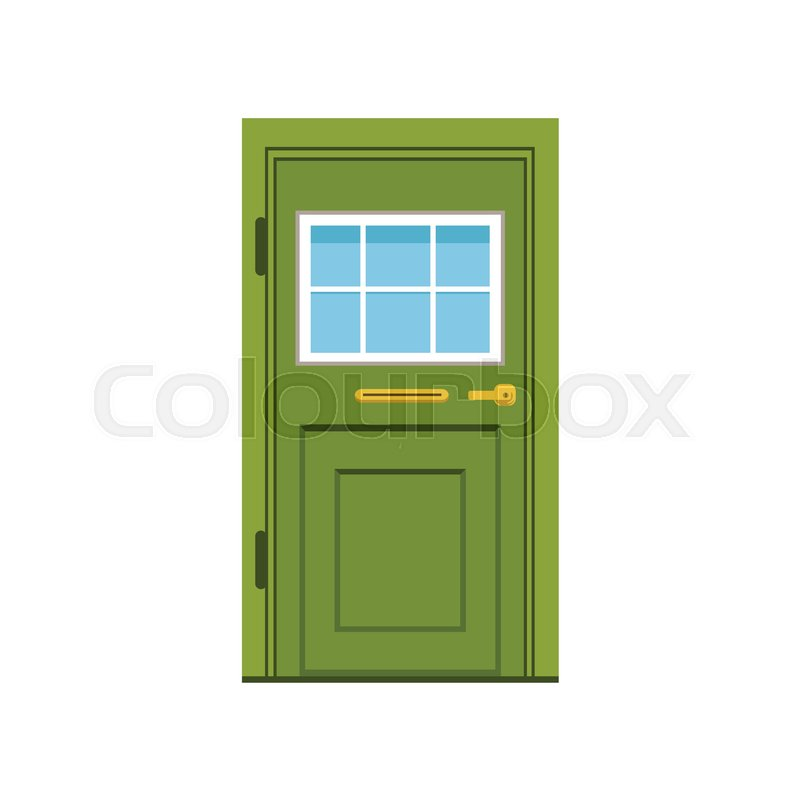 Green Front Door To House Closed Elegant Door Vector