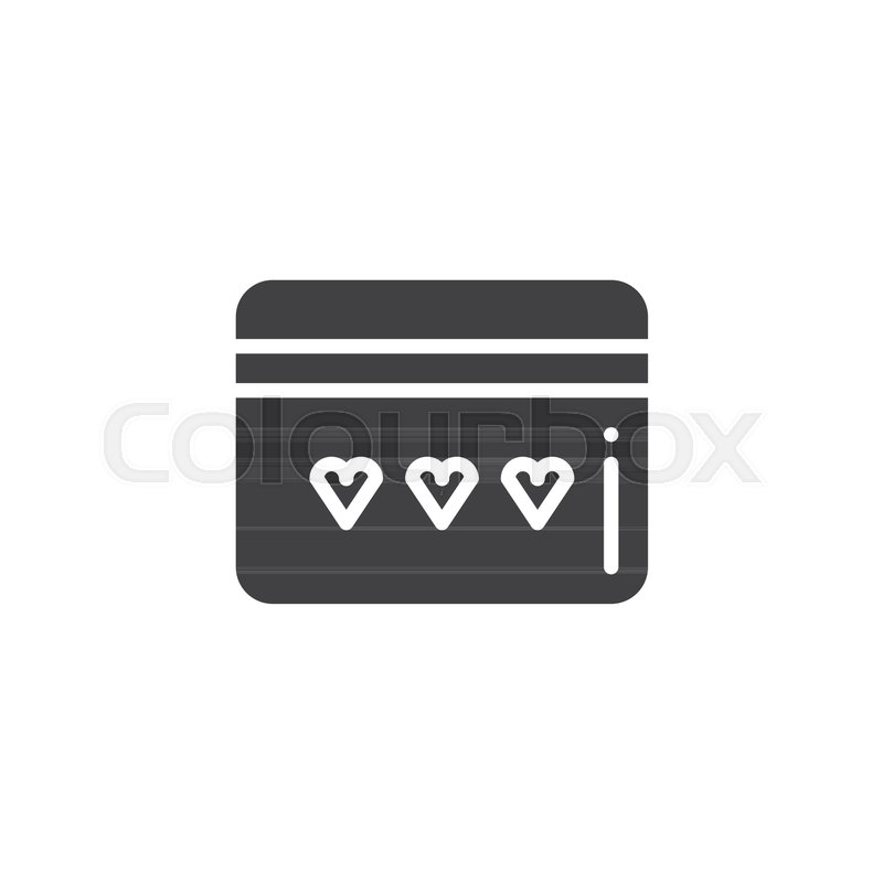 Credit Card With Heart Icon Vector Filled Flat Sign Solid