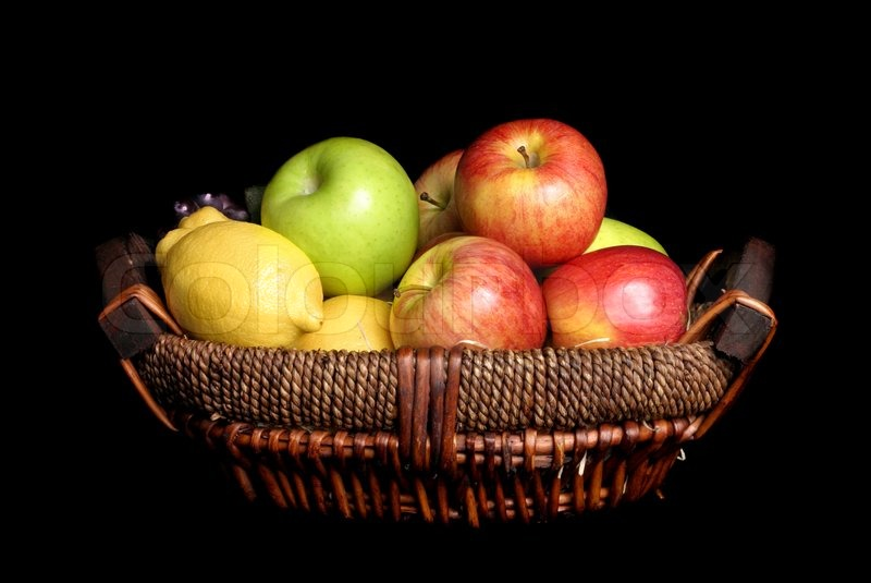 Healthy Hd Fruit Basket Wallpaper: Fresh Picked Fruits In A Basket On A Dark Background