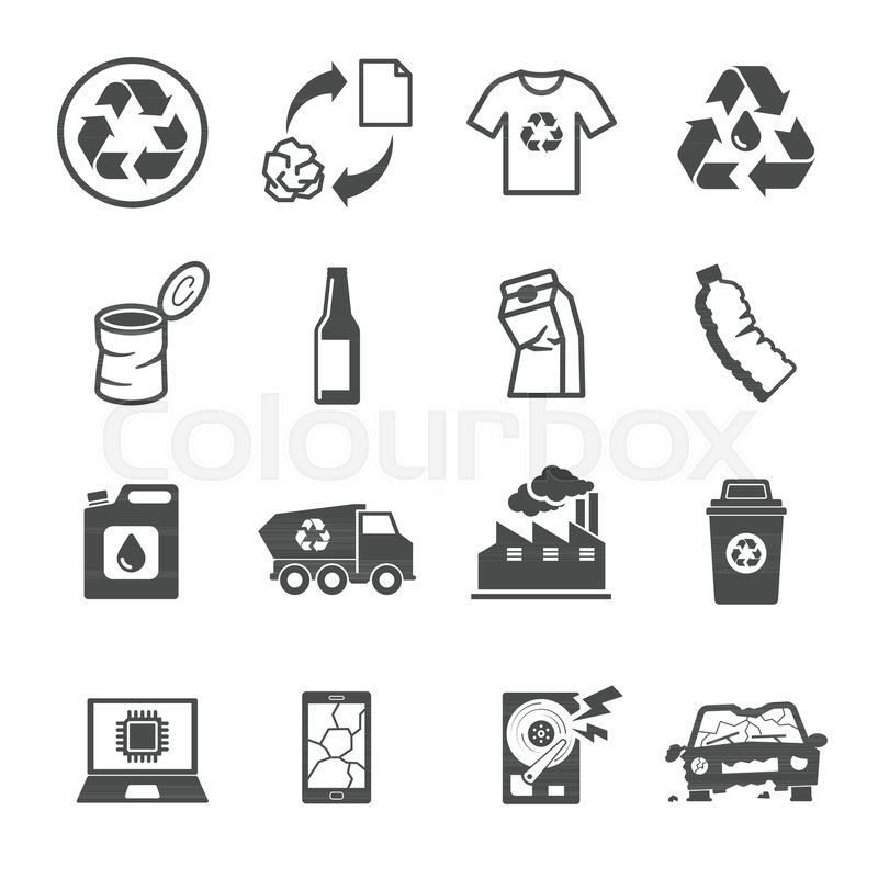 Vector E Sanitary Service : Recycling garbage contains such icons as waste paper