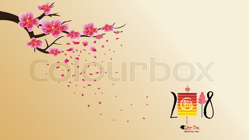 stock vector of chinese new year 2018 with blossom wallpapers year of the dog