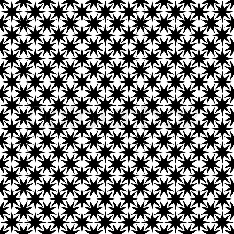 Monochrome Seamless Abstract Geometric Star Pattern   Vector Background  Design | Stock Vector | Colourbox
