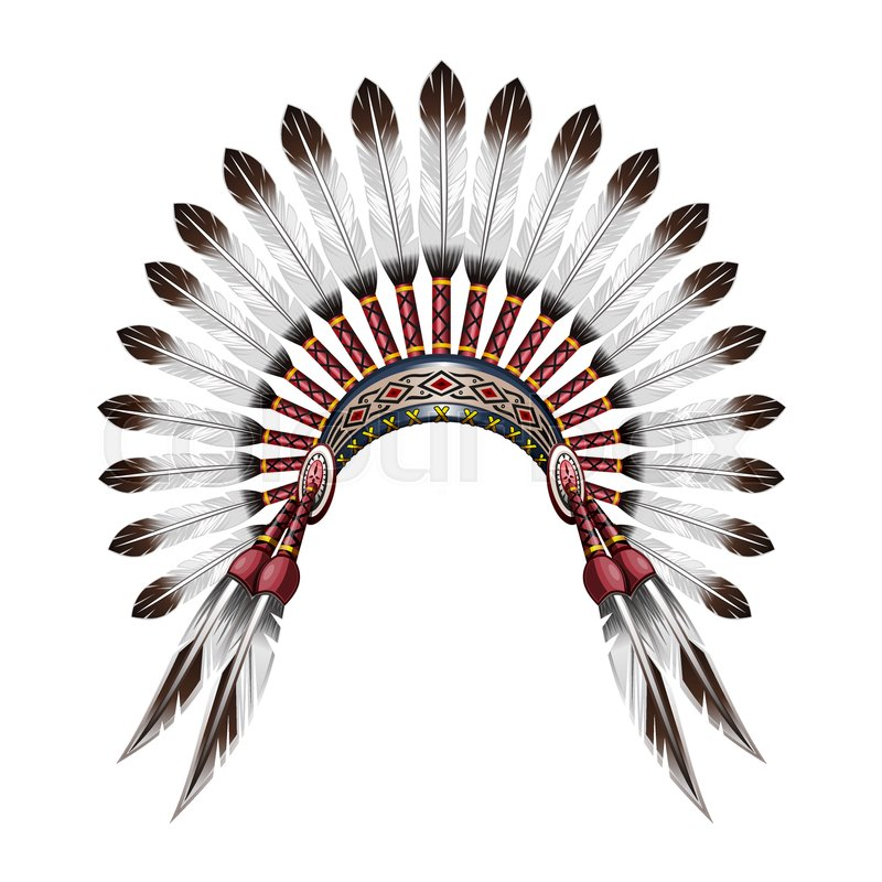 Native American Indian Headdress Red Tribal Chief With Feathers Feather Vector Colorful Illustration Isolated On White