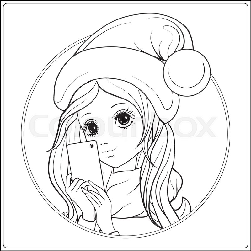 young nice girl with long hear and santa claus hat on her head make selfie or photograph on a mobile phone outline drawing coloring page