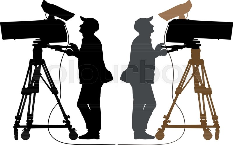 Grunge Camera Vector : Cameraman silhouette tv camera stock vector colourbox