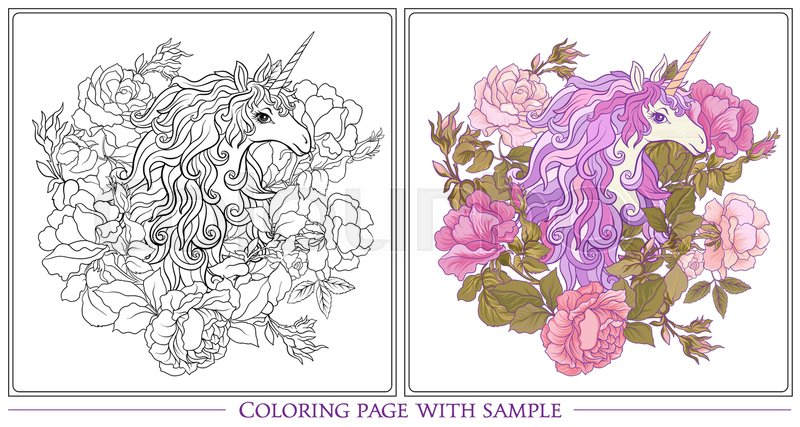 Poster with the unicorn, a bouquet of roses and butterflies on white ...