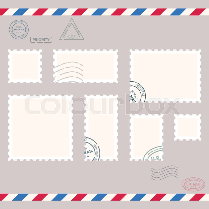 postage stamps template blank rectangle square postage marks