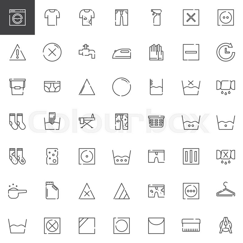 Laundry And Dry Cleaning Line Icons Set Outline Vector Symbol