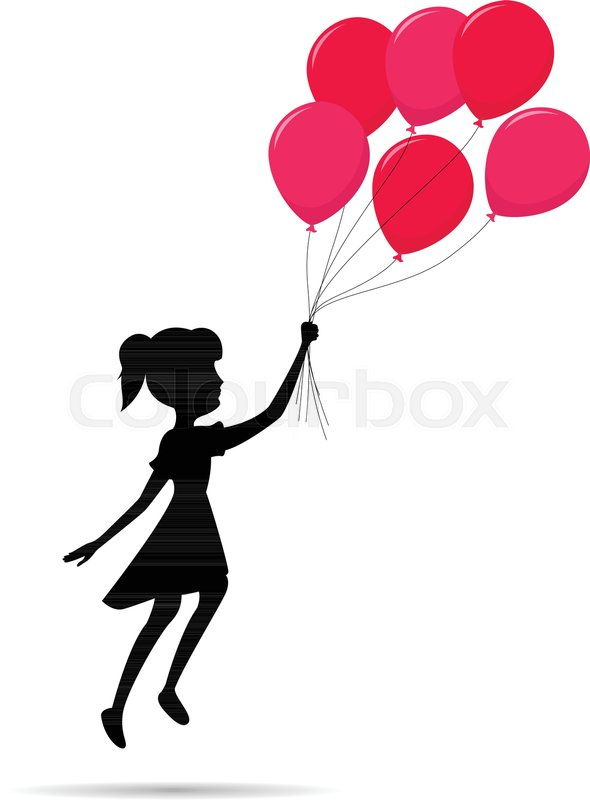 Fly Girl Silhouette With A Balloon Stock Vector Colourbox