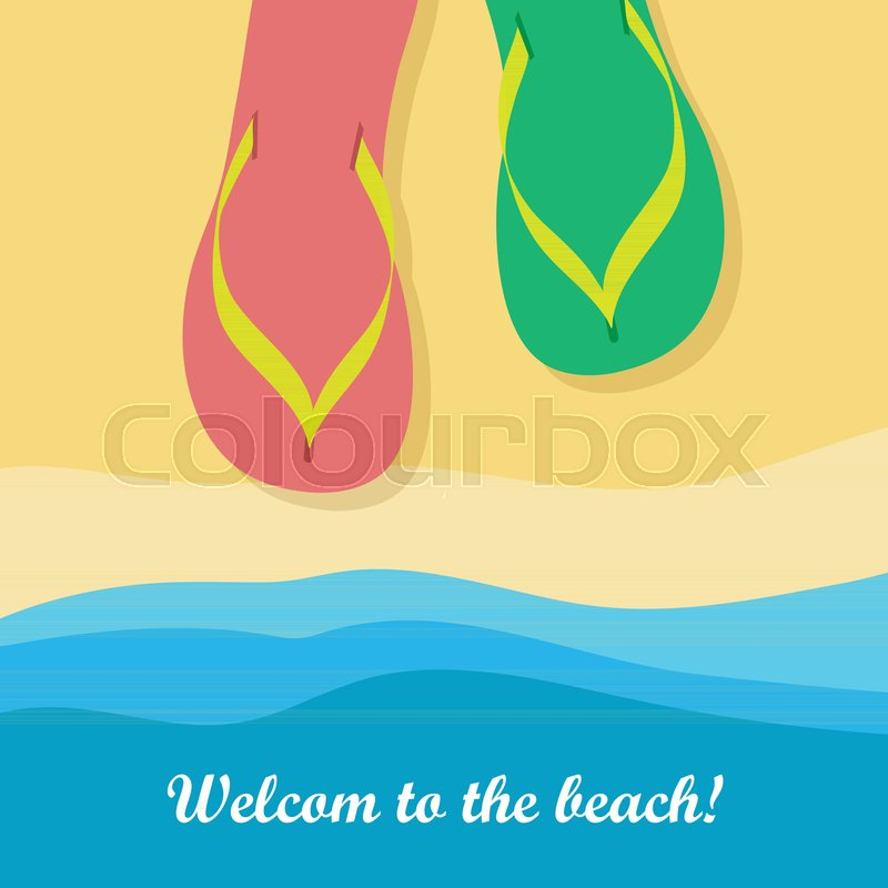56fa975877905 Welcome to beach. Pair of colorful ...