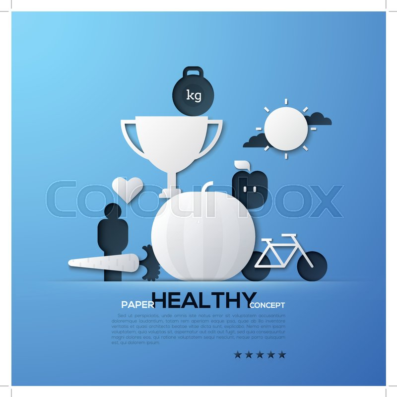 stock vector of paper concept of healthy lifestyle nutrition fitness weight loss