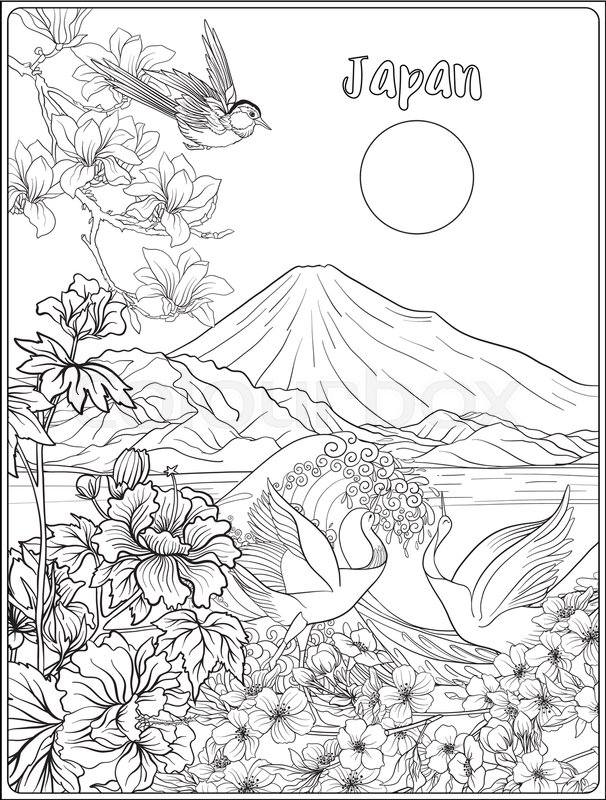 Japanese Landscape With Mount Fuji Sea And Woman Kimono Tradition Flowers A Bird Outline Drawing Coloring Page Book For Adult