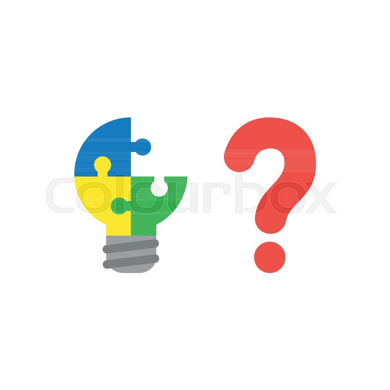 Flat Design Style Vector Illustration Concept Of Blue Yellow And Green Pieces Light Bulb Puzzle Symbol Icon Missing Piece With Red Question Mark Symbolizes
