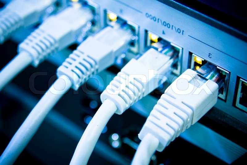 Network cables RJ45 connected to a ... | Stock image | Colourbox