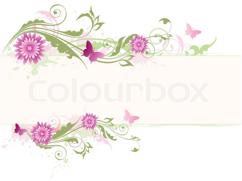 Vector Floral Background With Pink Flowers And Green