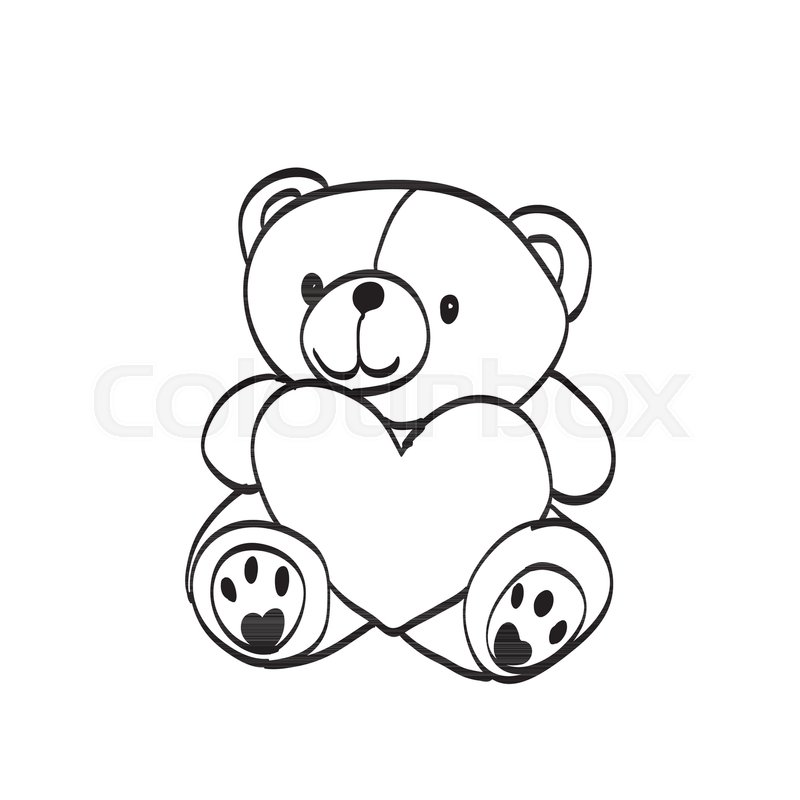 Teddy bear sketch drawing on a white background stock vector teddy bear sketch drawing on a white background stock vector colourbox altavistaventures Image collections