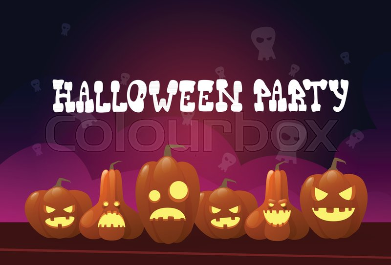 happy halloween party banner different pumpkins traditional decoration greeting card flat vector illustration stock vector colourbox