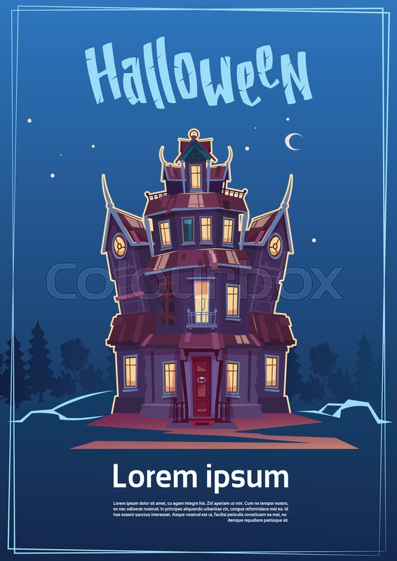 Happy Halloween Gothic Castle With Ghosts In Moonlight Holiday Greeting Card Concept Flat Vector Illustration, vector