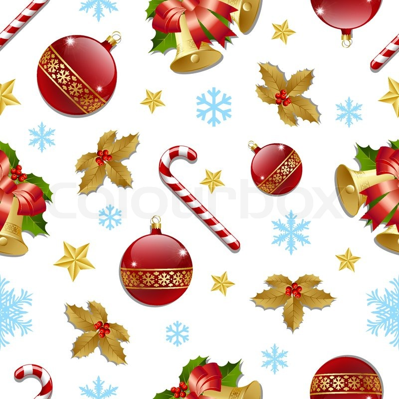 Seamless Christmas pattern on white background | Stock Vector ...