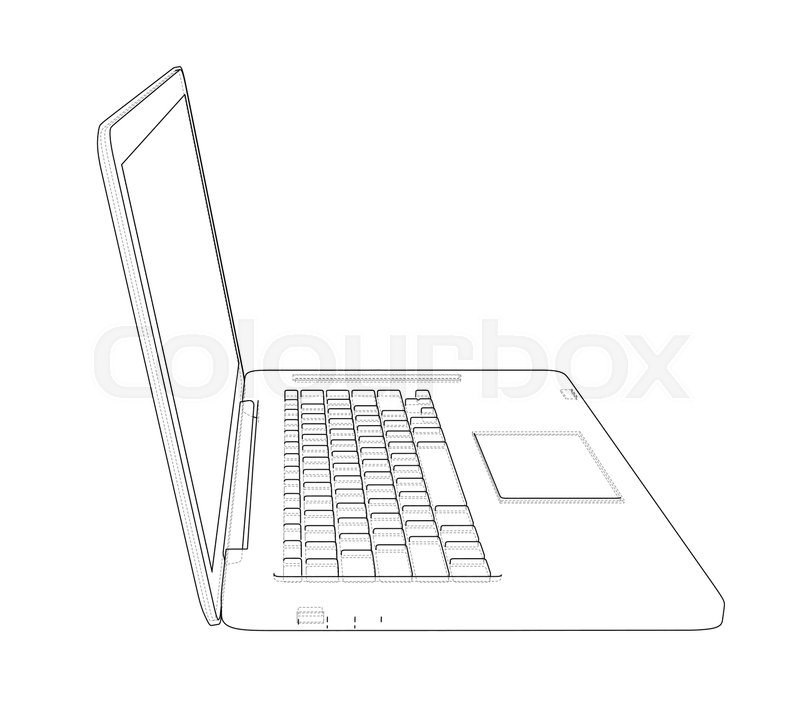 Laptop sketch  Vector rendering of 3d      | Stock vector