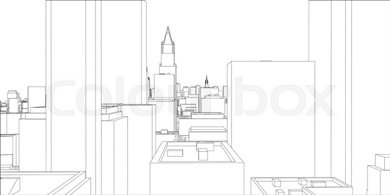 Wire frame new york city blueprint style 3d rendering vector stock vector of wire frame new york city blueprint style 3d rendering malvernweather Gallery