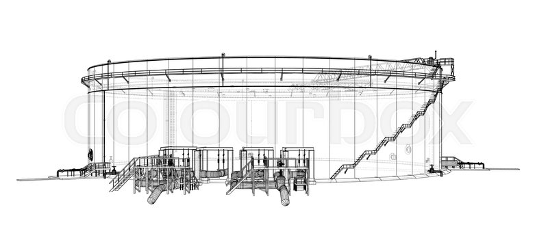 Clock face. Perspective view. Vector rendering of 3d. Wire-frame ...