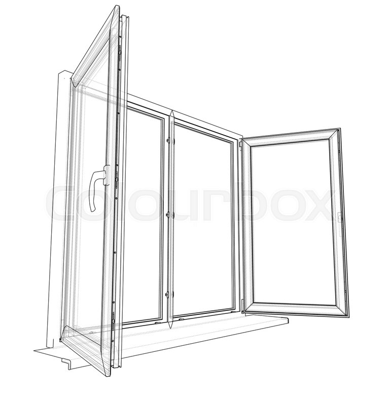 Open windows sketch. Vector rendering of 3d. Wire-frame style. The ...