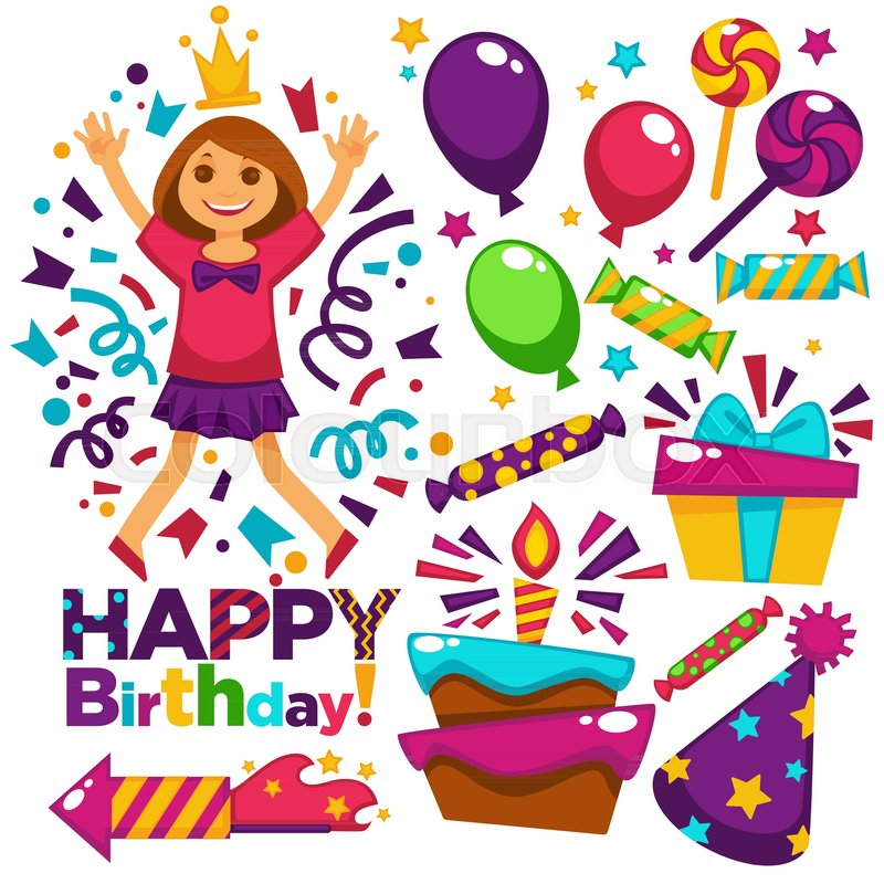 Happy birthday greeting card or postcard gift template design happy birthday greeting card or postcard gift template design vector girl princess birthday party celebration festive balloons confetti candles in cake bookmarktalkfo Images