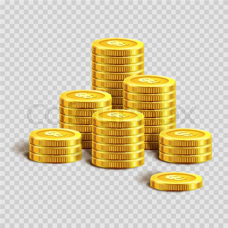 Piles Of Shiny Gold Coins With Engraved Dollar Sign Isolated Cartoon Vector Illustration On Transparent Background Metal Round Polished Money Low Value
