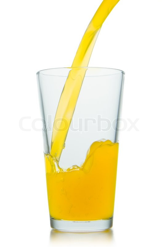 orange juice pouring into glass on stock photo colourbox