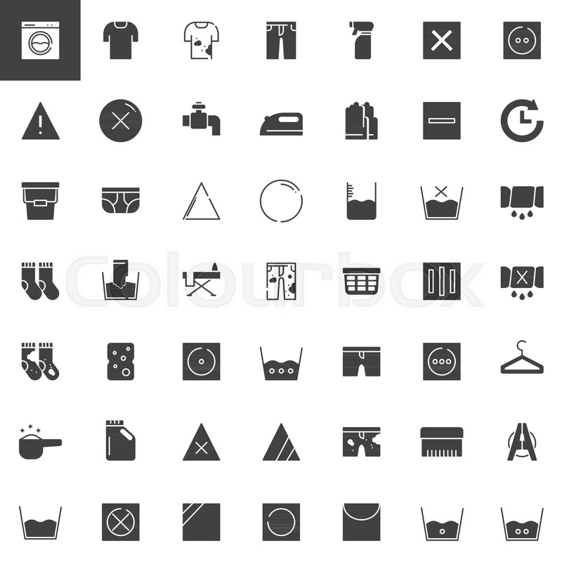 Laundry And Dry Cleaning Vector Icons Set Modern Solid Symbol