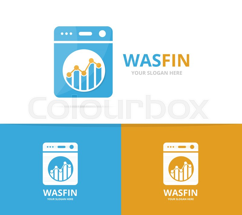 Vector Of Laundry And Graph Logo Combination Washing Machine And