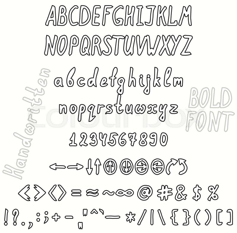 Bold Handwritten Font Invert The Set Of Numbers Uppercase And Lowercase Letters Punctuation Marks Arrows