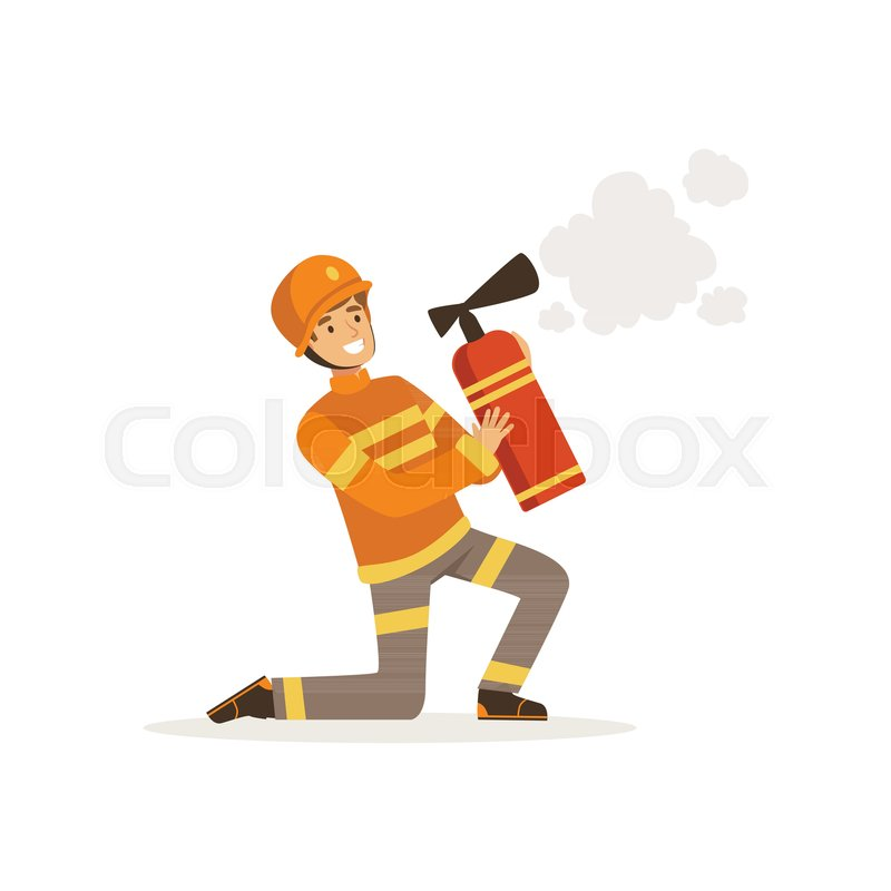 Fireman character in uniform and protective helmet kneeling spraying foam from a fire extinguisher, firefighter at work vector illustration isolated on a white background, vector