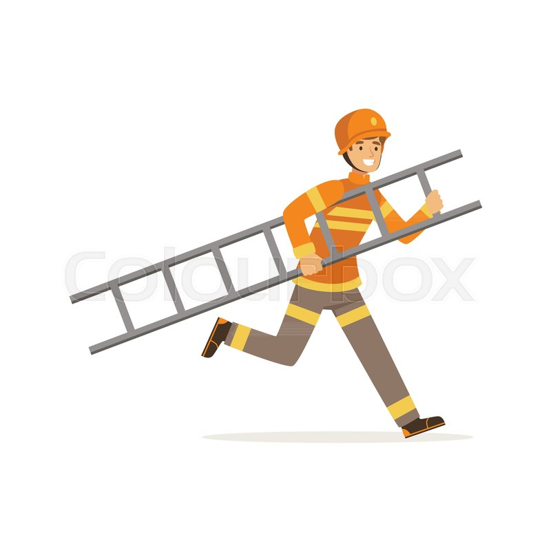 Fireman character in uniform and protective helmet running with ladder, firefighter at work vector illustration isolated on a white background, vector