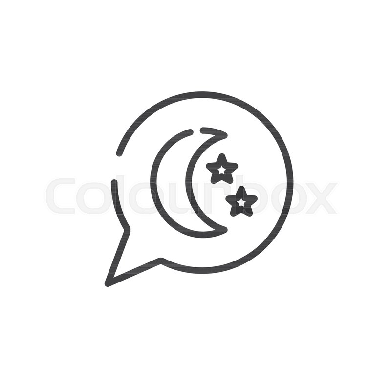 Dream Speech Bubble With Moon And Stars Line Icon Outline Vector