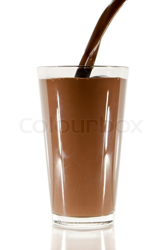 Pouring chocolate milk into the glass isolated on white - Stock Photo - Colourbox - 웹