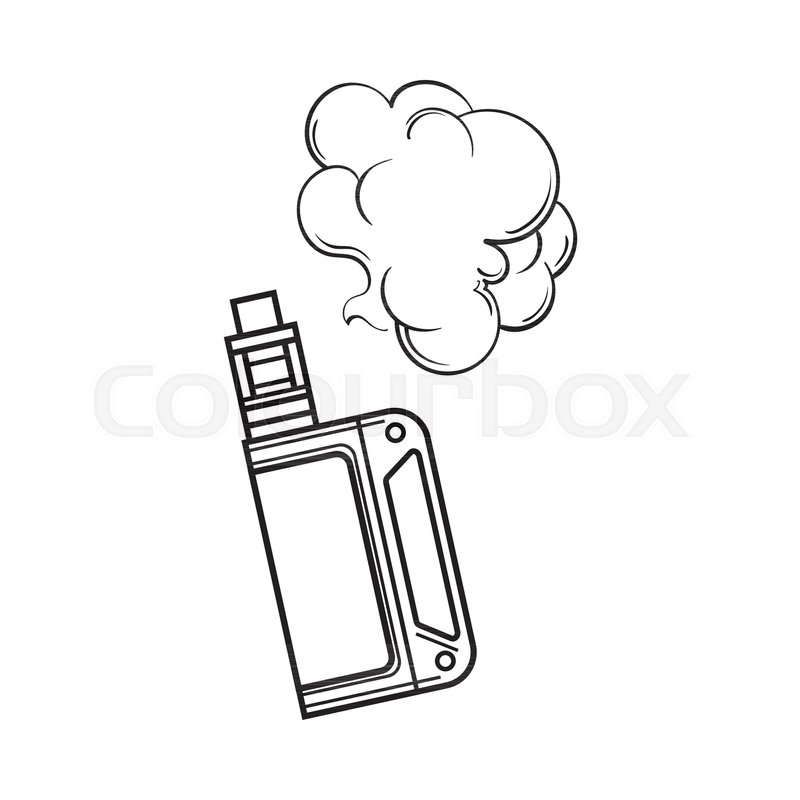 Hand Drawn Vape Vaping Device With Smoke Cloud Black And