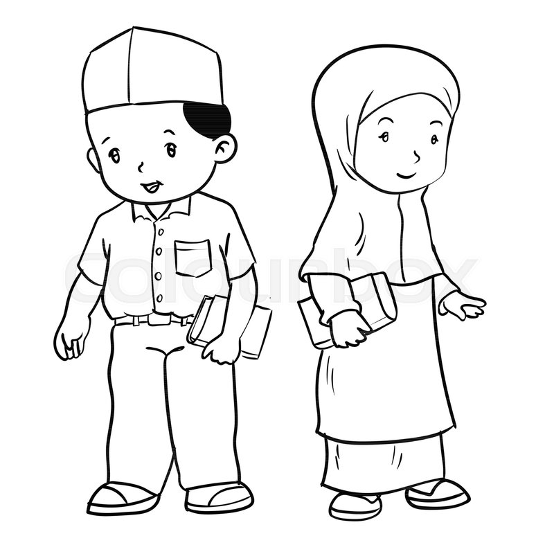 Hand drawing of muslim kids standing isolated on white ...