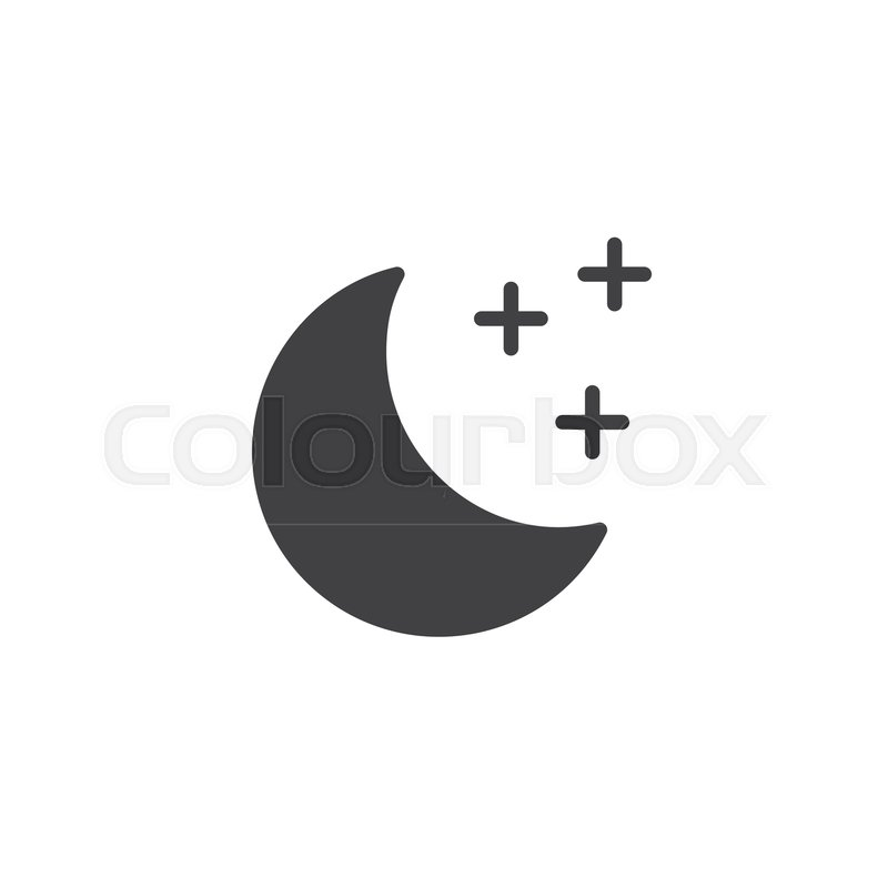 Moon Icon Vector Filled Flat Sign Solid Pictogram Isolated On