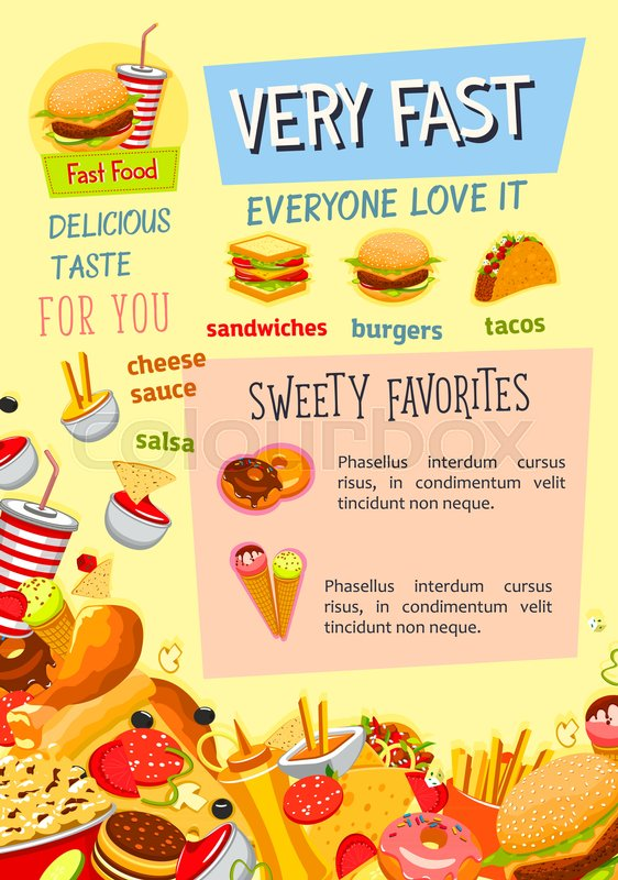 fast food poster template for fastfood restaurant menu vector