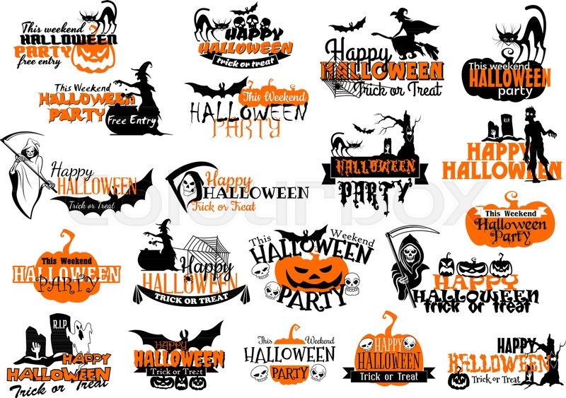 Lovely Happy Halloween Party Or Holiday Greeting Card Icons Set. Vector Set Of  Pumpkin, Halloween Scary Symbols Of Witch, Zombie And Skeleton On  Graveyard, ...