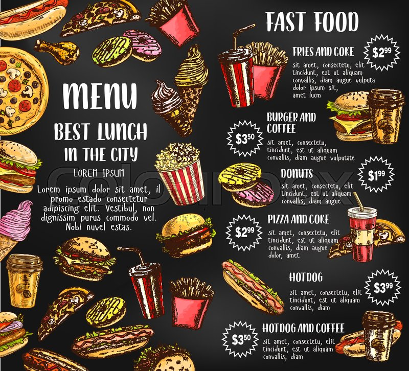 fast food sketch price menu template for fastfood restaurant or