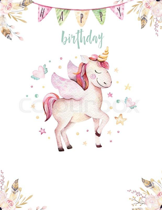 Isolated cute watercolor unicorn invitation card Nursery unicorns