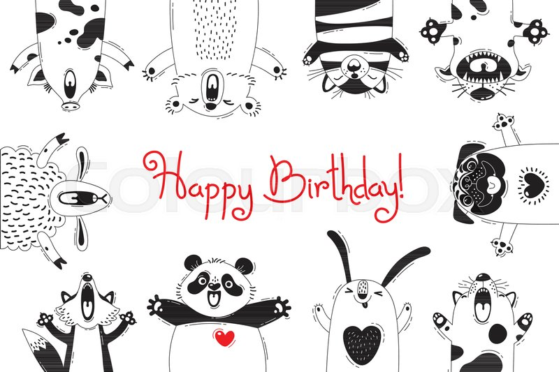 Birthday Card With Funny Animals Pig Bear Fox Sheep Cat Pug Panda Rabbit Vector Illustration
