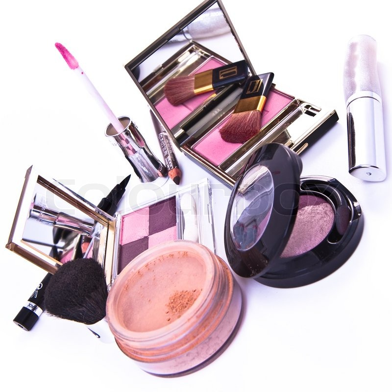 Makeup Collection on Makeup Collection On White Background Stock Photo